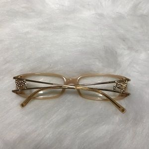 AUTH CHANEL CC Reading Glasses Gold Tan Vintage